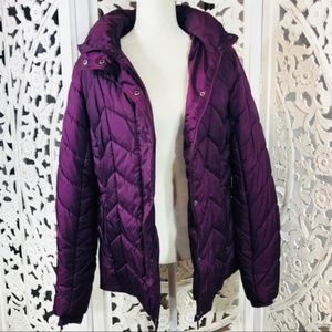 St. John's Bay Purple Quilted Puffer Jacket Coat